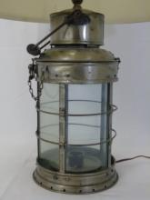 Vintage Iron and Glass Cage Nautical Lantern Lamp