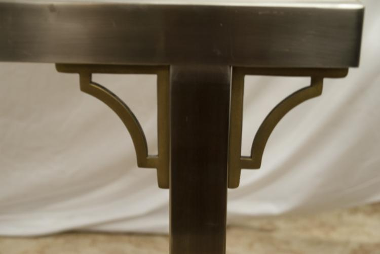 Art Deco Metal Glass Topped Dining Room Table