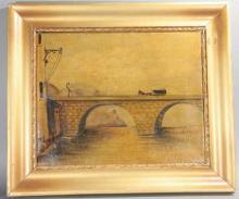 Antique Painting-Horse & Carriage Crossing Bridge