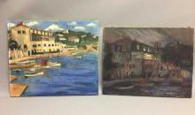 Lockley Signed Pair of Oil Paintings Harbor Scene
