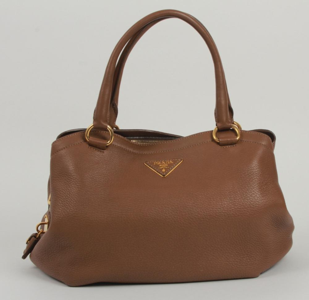 d578d621e76d Prada Light Brown Leather Purse / Hand Bag