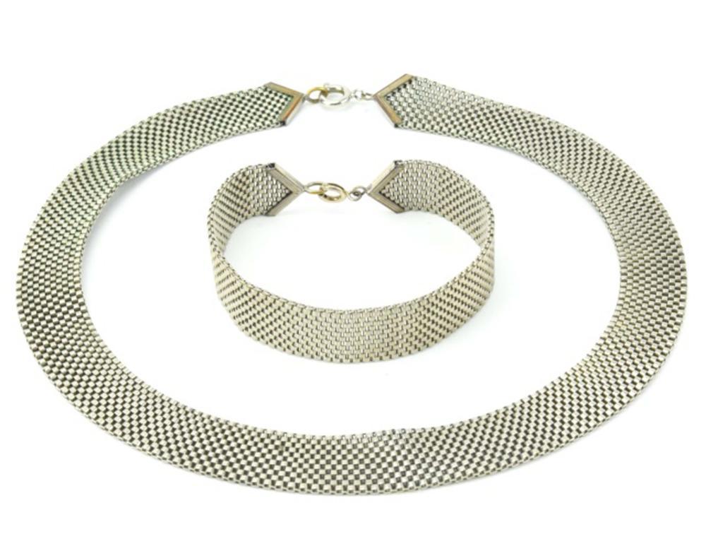 Vintage Silver Tone Book Chain Necklace & Bracelet