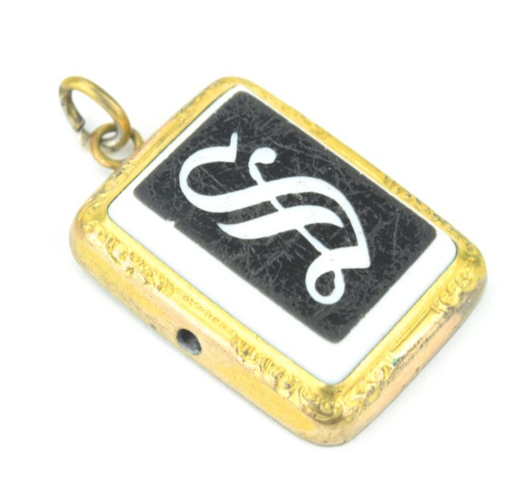 Antique 19th C S Initial Necklace Pendant or Fob