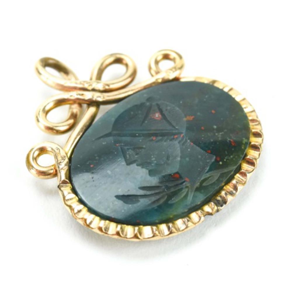 Antique 19th C Bloodstone Intaglio Fob or Pendant