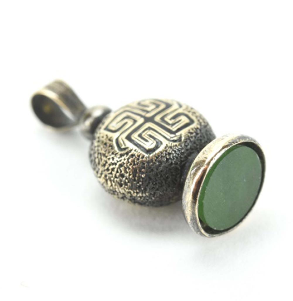 Antique Gold & Enamel Greek Key Charm or Fob