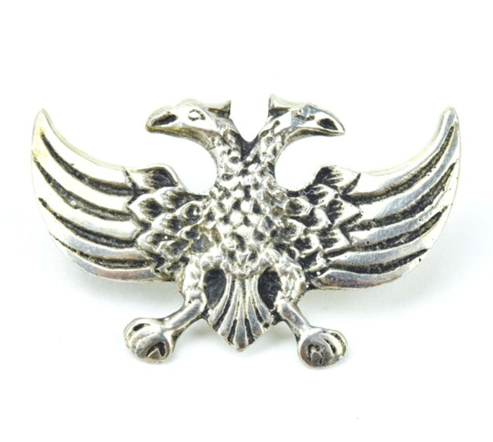 600 Silver Double Headed Eagle Pin