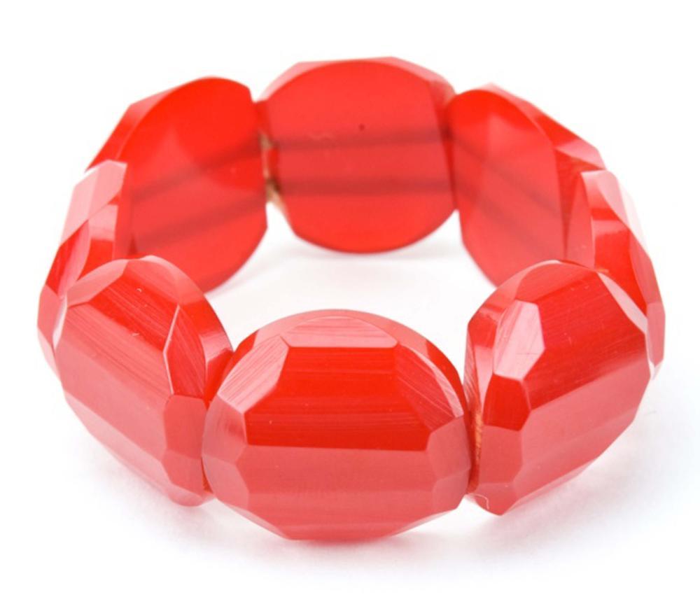 Vintage Faceted Cherry Bakelite Stretch Bracelet