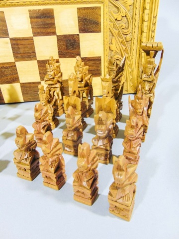 Hand carved ornate wooden chess backgammon set - Ornate chess sets ...
