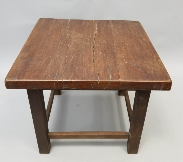 contemporary rustic square dark wood end table. Black Bedroom Furniture Sets. Home Design Ideas