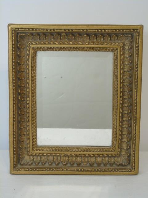 Small beveled mirror in gold painted wood frame for Small gold framed mirrors