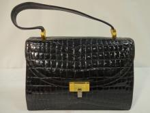 Embossed Black Patent Leather Korat Handbag