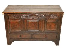 17th Century Carved Trunk w/2 Drawers- Vine Motif