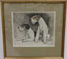 Newman- 1920s Color Etching- Terriers