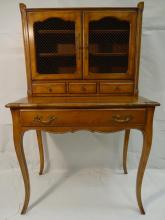 Antique Two-Piece Pecan Secretary w/Iron Grilles