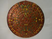 Antique Copper Aztec Calendar w/Enamel Designs