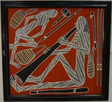 Aborigine Man Playing Didgeridoo/Oil on Canvas