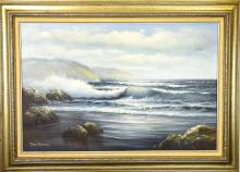 David Burton Seascape Framed Oil Painting