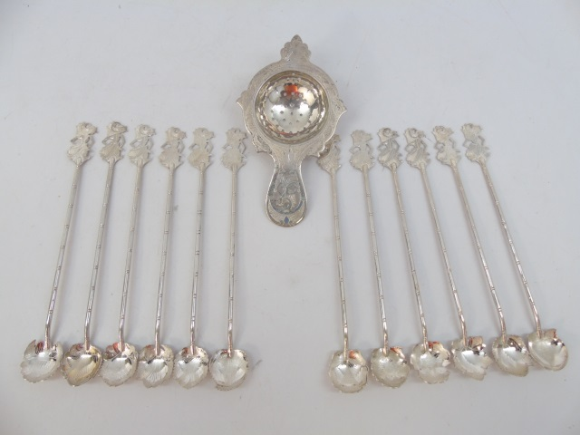 12 Antique Indonesian 800 Silver Ice Tea Spoons