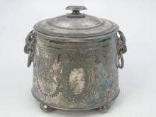 Antique English Silver Plate Biscuit Barrel w Rams