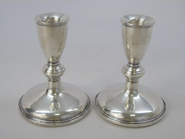 Pair Antique Sterling Silver Single Candlesticks