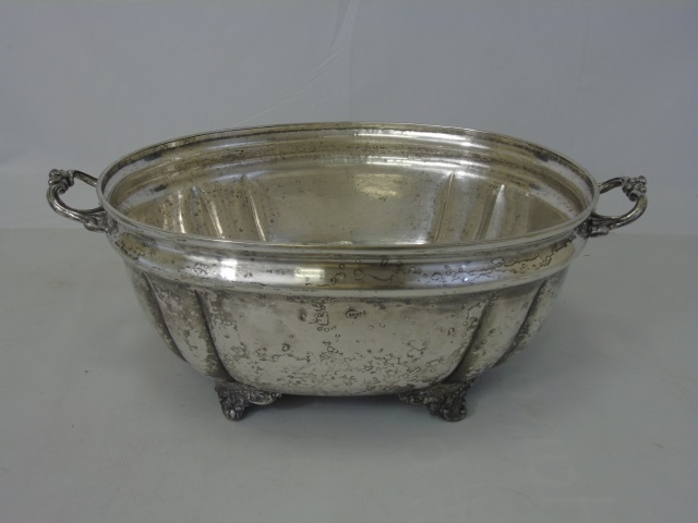 Large Antique Silver Plate Handled Center Piece