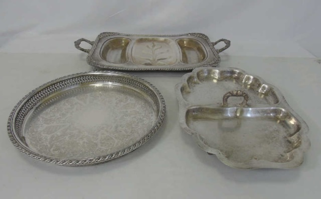 3 Antique Silver Plate Galleried & Handled Trays