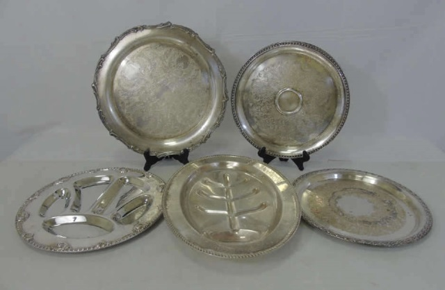 5 Antique Silver Plate Round & Oval Serving Trays