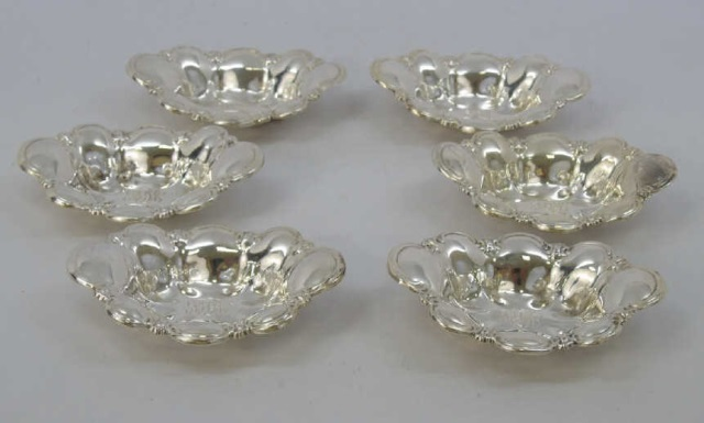 Set of 6 Sterling Silver Individual Butter Pats