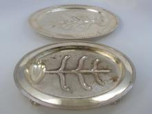 2 Silver Plate Footed Meat Trays w Runnels & Wells