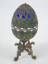 Russian Silver & Cloisonne Enamel Egg on Stand
