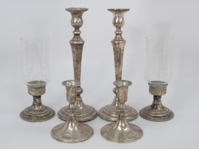 Set of Six Sterling Silver Candlesticks