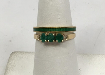 Estate Yellow Gold Emerald Diamond & Enamel Rings