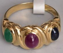 Estate 14kt Gold Emerald Ruby Sapphire Ring