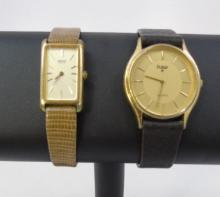 2 Watches Seiko and Pulsar on Leather Bands