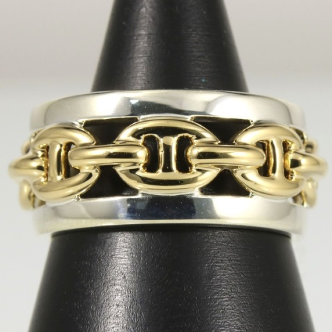 Vintage Hermes 18kt Yellow Gold & Sterling Ring