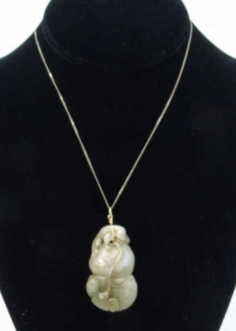 Carved Chinese Jadeite Pendant on Sterling Chain