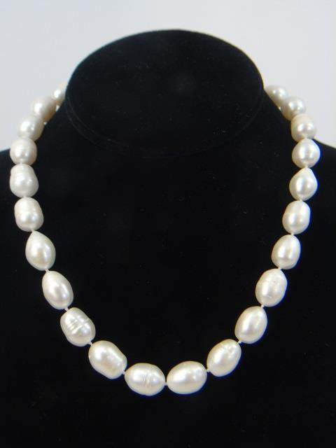 Large Cultured Baroque White Pearl Necklace Strand