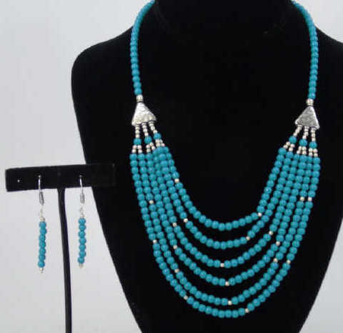 Tibetan Style Turquoise Necklace & Earring Set