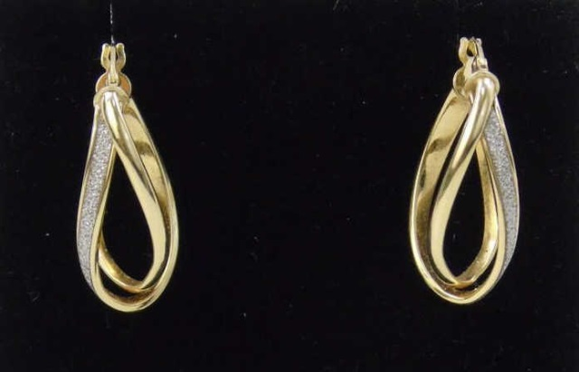 Pair 14k Yellow Gold Diamond Double Hoop Earrings