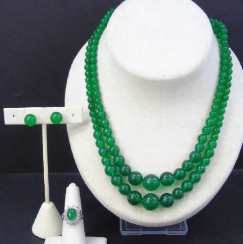 Pair Chinese Carved Jade Necklace, Earrings & Ring
