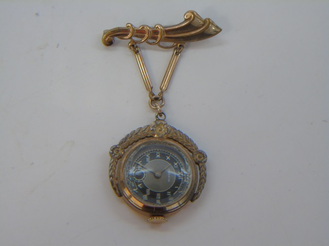 Antique Estate Gold Filled Frenca Brooch Watch