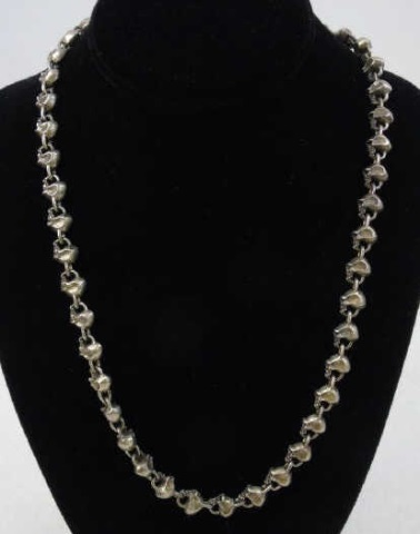 Heavy Sterling Silver Skull Motif Necklace Chain