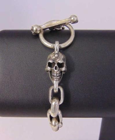 Heavy Sterling Silver Skull Motif Bracelet Chain