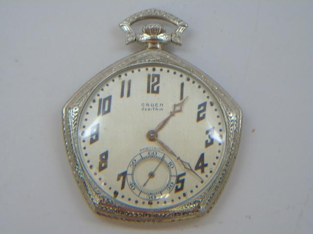Antique 14k White Gold Gruen Verithin Pocket Watch