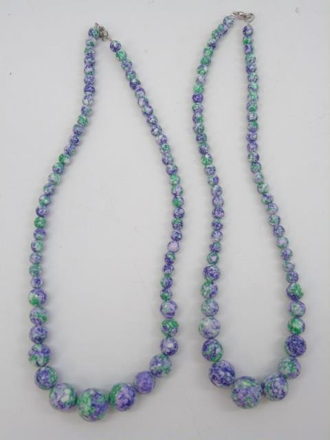 Pair Carved Bead Turquoise Necklace Strands