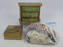 Two Small Jewelry Boxes & Costume Jewelry