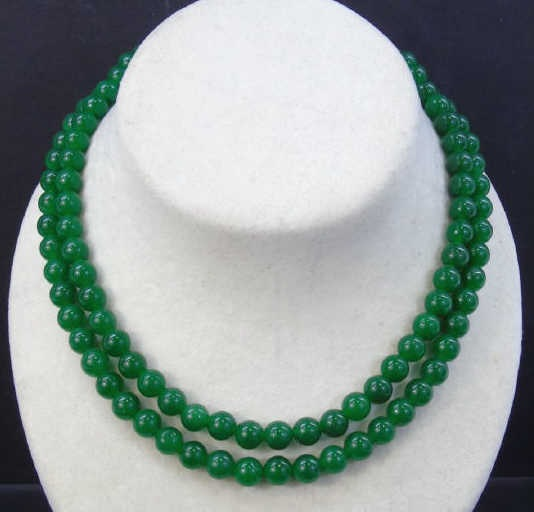 Pair Chinese Beaded Green Jade Necklace Strands