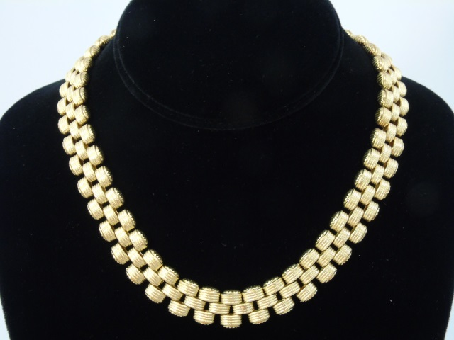 Estate K Gutman 18kt Yellow Gold 3 Tier Necklace
