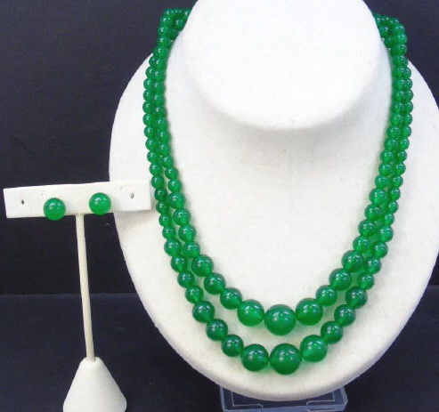 Pair Carved Graduated Jade Necklaces & Earrings
