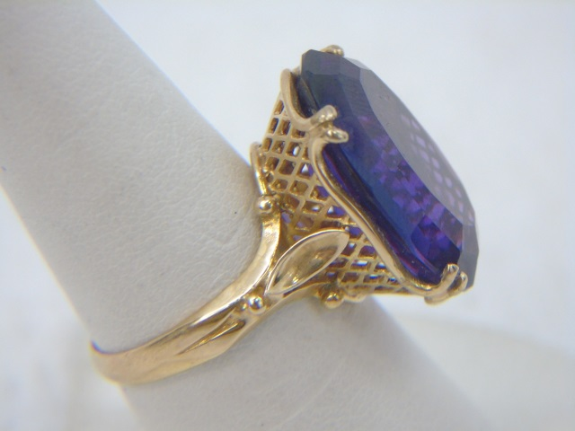Estate Yellow Gold & Large Amethyst Cocktail Ring